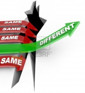 Innovation 12232062-several-red-arrow-with-the-word-same-fall-into-an-abyss-but-one-successful-green-arrow-with-the-word